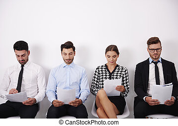 Group of people waiting for the interview
