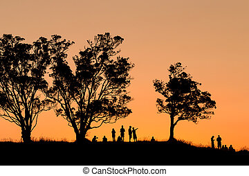group of people watching sunset