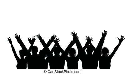 Group of people waves hands