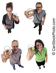 group of people with a cup of alcohol on white background