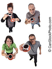 group of people with a cup of coffe on white background