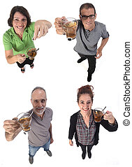 group of people with a cup of infusion on white background