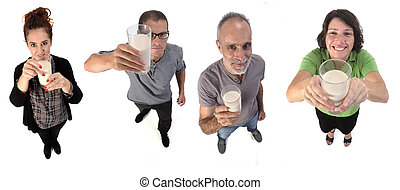 group of people with a glass of milk on white background