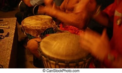 group of people with African drums