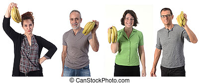 group of people with banana on white background