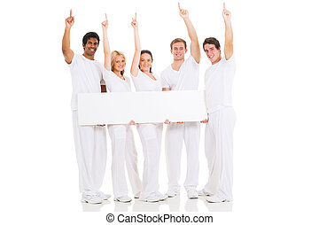 group of people with blank white board