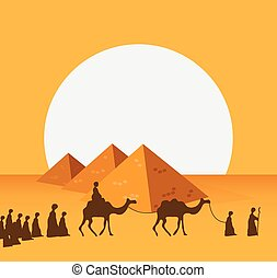 Group of People with Camels Caravan Riding in Realistic Wide Desert Sands in Middle East. Vector Illustration