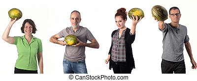 group of people with cantaloupe on white background
