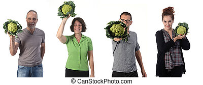 group of people with cauliflower on white background