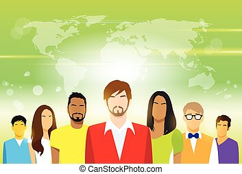 Group of People with Copy Space Casual Young Man and Woman...