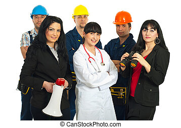 Group of people with different jobs