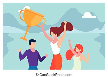 group of people with gold trophy