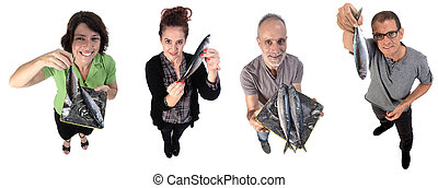 group of people with mackerel on white background