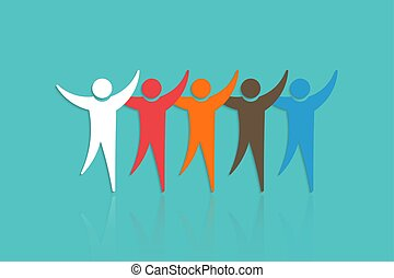 Group of People with raised hands. Concept for Teamwork