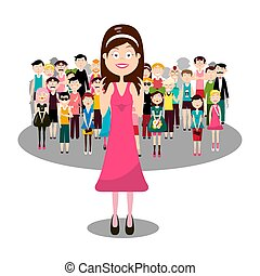 Group of People with Smiling Woman in Pink. Vector Audience and Speaker Concept. Men and Women Isolated on White Background.