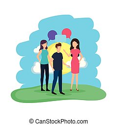group of people with speech bubbles in the camp