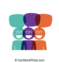 group of people with speech bubbles