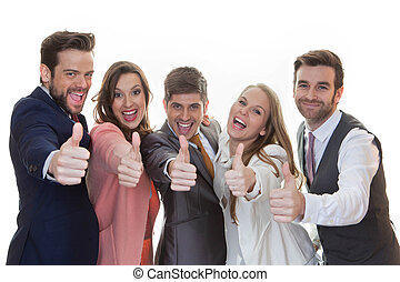 group of people with thumbs up