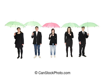 Group of people with umbrellas isolated on white background
