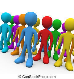Group of people with various colors.