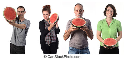 group of people with watermelon on white background