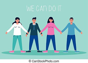 group of people with we can do it message