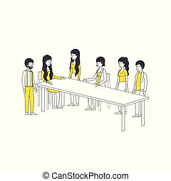 group of people with yellow clothes in the table vector...
