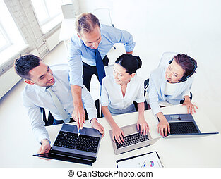group of people working in call center