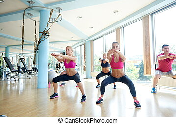 group of people working out in a fitness gym - group of...