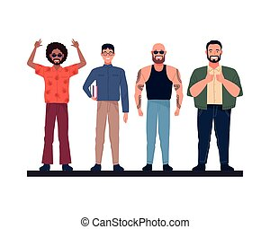 group of perfectly imperfect men characters vector illustration design