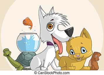 Illustration of a group of pets
