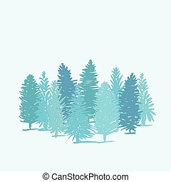 Group of pine trees on blue background