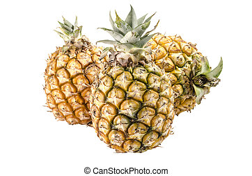 Group of pineapples isolated on white background : Clipping path included
