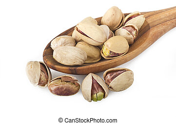 Group of pistachio nuts isolated on a white
