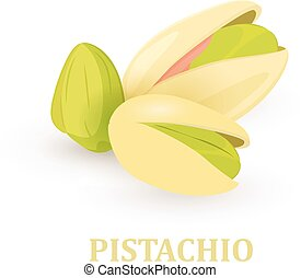group of pistachios on white background for your design