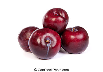 Group of plums on white - Group of plums isolated on a white...