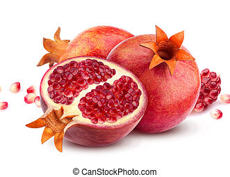 Group of pomegranate fruits isolated on white background, composition with pomegranate seeds