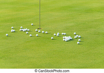 group of practice golf ball