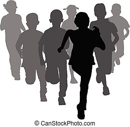 group of preschooler boys and girls running silhouettes