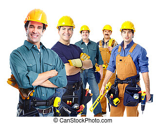 Group of professional industrial workers. Isolated over...