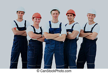 Group of professional industrial workers.