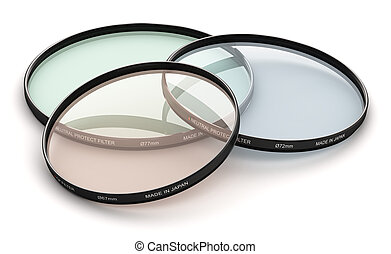Group of professional photo camera filters