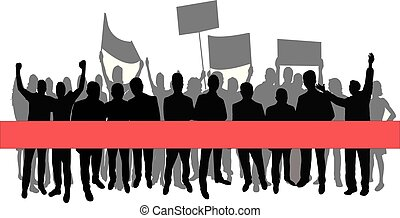 group of protester silhouette vector