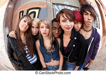 Group of Punks Fisheye - Young teen punks pose for a serious...