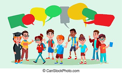 Group Of Pupils Vector. School. Discussing. Brainstorming. Talking Communication. Mix Race. Chat Bubbles. Flat Cartoon Illustration
