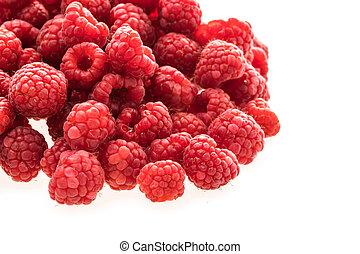 Group of Rasberry fruit isolated on white background