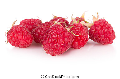 group of raspberries on white background
