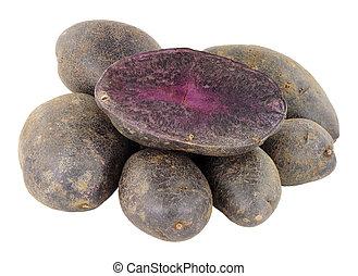 Group Of Raw Purple Majesty Potatoes