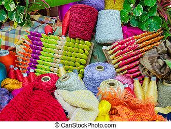 Group of Raw silk thread.