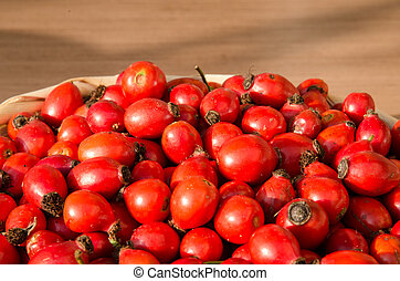 group of red brier fruits
